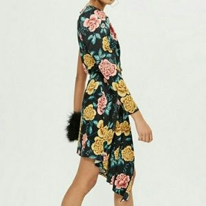 NWT Topshop Black Floral One Arm Dress US Size 4